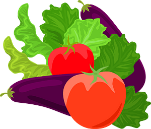 Vegetables - Eggplant and Tomato clipart