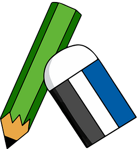 Green Pencil and White Eraser clipart