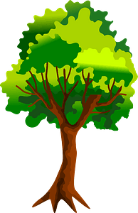Tree with Green Leaves and Roots clipart