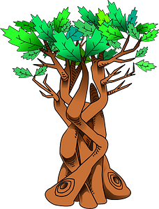Twisted Tree with Green Leaves clipart