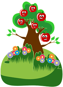 Anthropomorphic Happy Apples Tree clipart
