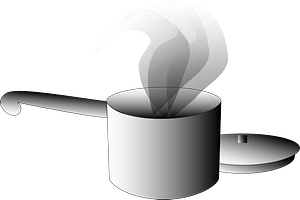 Pot with Lid - Black and White clipart