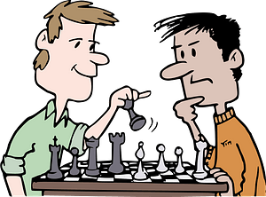 Chess players playing a game clipart