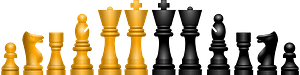 Gold and Black Chess Game Pieces clipart