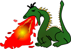 Green Dragon Breathing Fire clipart
