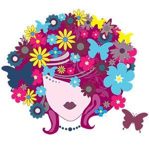 Floral Butterfly Hair Woman clipart