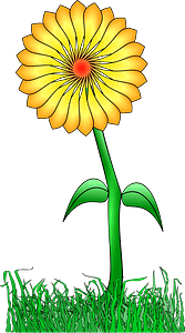 Yellow Flower on the Stem Outside clipart