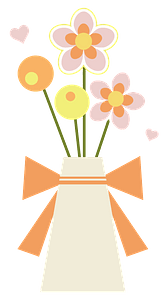Flowers and Hearts in a Vase clipart