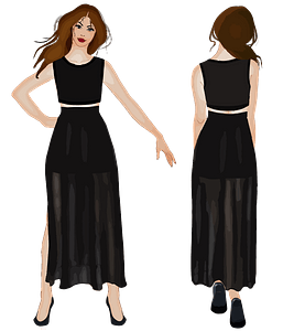 Front and Back View Woman in a Black Dress clipart