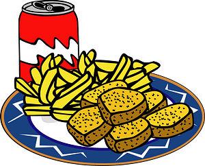 Fast Food, Menu, Sample Chicken Nuggets Meal clipart