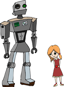 Girl and Robot immagine clipart