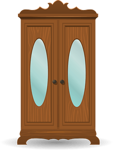 Glitch Simplified Tall Cabinet with Shiny Oval Mirrors clipart