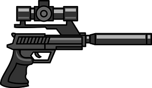 Gun with Scope and Silencer clipart