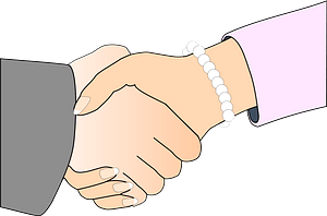 Handshake - White Man and Woman clipart