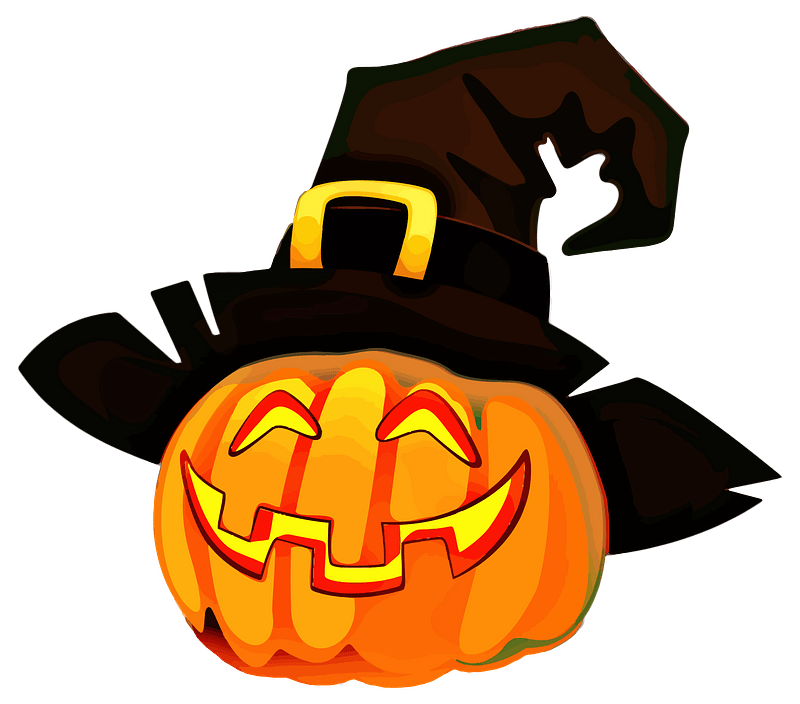 Jack-o'-lantern Wearing a Witch Hat clipart. Free download transparent .PNG   Creazilla