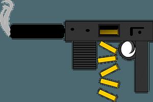 Smoking Gun with Spent Shell Casings clipart