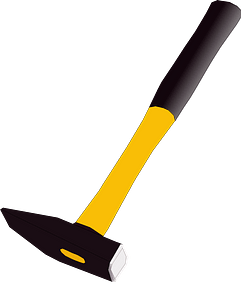 Yellow Handled Straight Hammer clipart