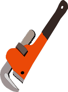 Orange Pipe Wrench clipart
