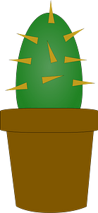Cactus in a Brown Pot clipart
