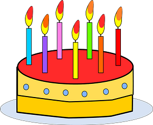 Cake with Candles clipart