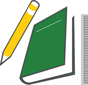 Education - Yellow Pencil, Green Notebook, Ruler clipart