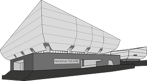 National Theatre - Black and White clipart