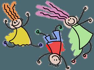 Playful Stick Figure Kids clipart