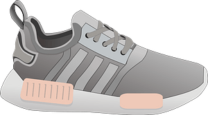 Gray Tennis Shoe with Peach Accents clipart