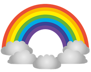 Rainbow and clouds clipart