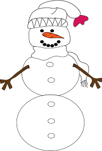 Snowman with a White Hat and Scarf clipart