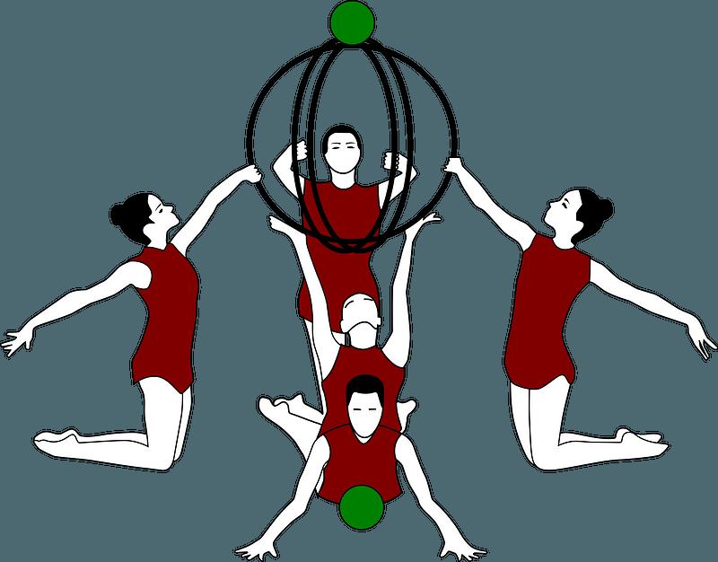 Rhythmic Gymnastics with Bows and Ball clipart