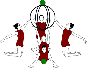 Rhythmic Gymnastics with Bows and Ball clipart