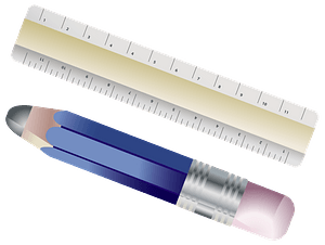 Wood Ruler and Blue Pencil clipart