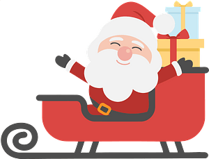 Santa and sleigh filled with gifts clipart
