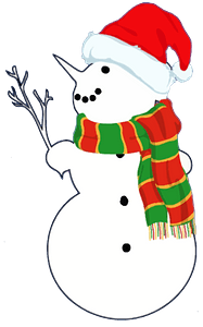 Snow Man with Branch clipart