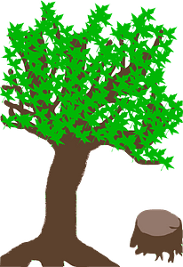 Summer Tree with a Stub clipart