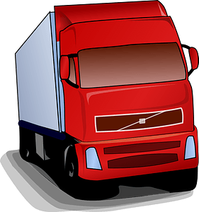 Semi Truck with a Red Cab clipart