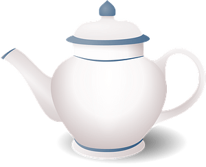 White Teapot with Blue Edging clipart