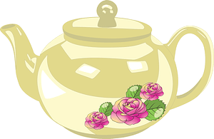 Light Yellow Teapot with Flower Decoration clipart