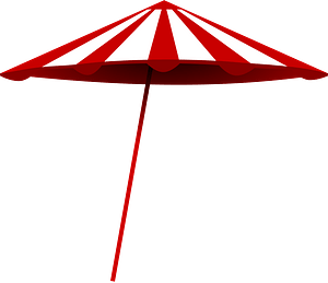 Red and White Umbrella clipart