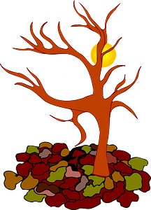 Bare Tree - Autumn Leaves Down clipart