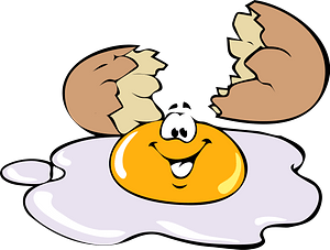 Egg broken and smiling clipart
