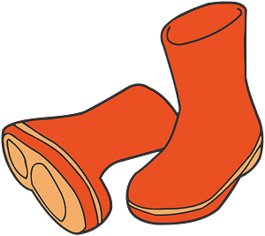 Orange Wellington Boots clipart