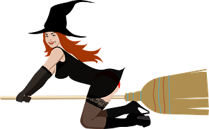 Red Haired Witch on a Broom clipart