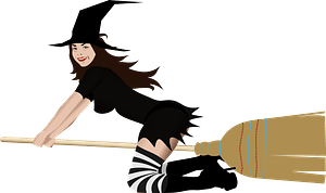Witch on Broom clipart