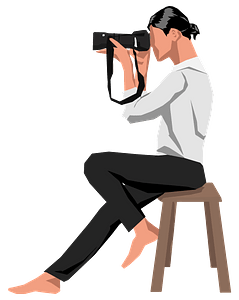 Woman Photographer on Stool clipart