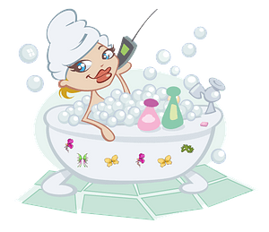 Woman Talking on the Phone in a Bubble Bath clipart