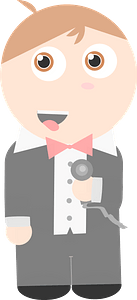 Singer in a Tux at the Microphone clipart