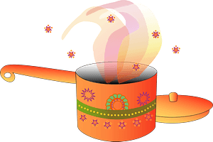 Orange Sauce Pan and Lid with Aromas clipart