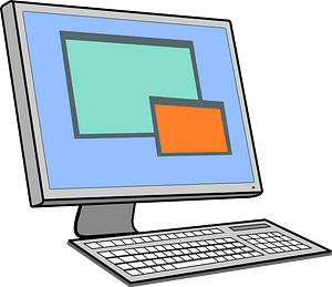 Computer with Keyboard clipart